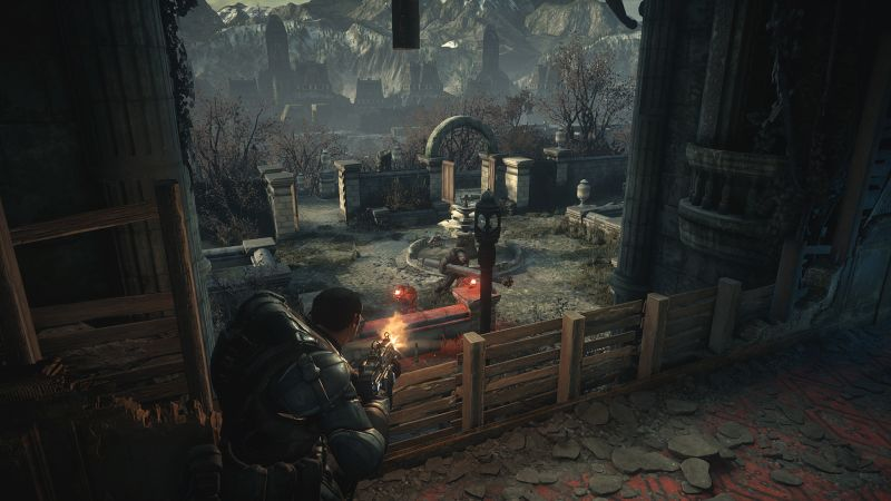 Gears of War: Ultimate Edition Screenshot Shooting enemies below