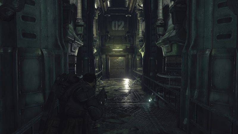 Gears of War: Ultimate Edition Screenshot Exploring an abandoned factory