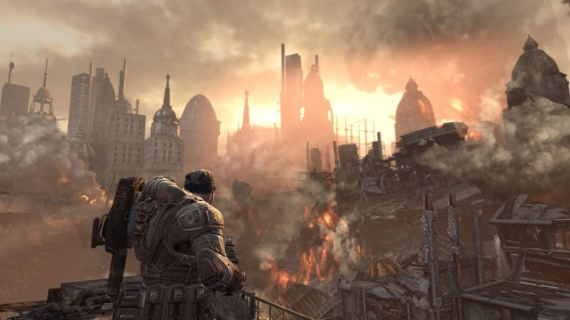 Gears of War 2 Screenshot Watching the destroyed skyline