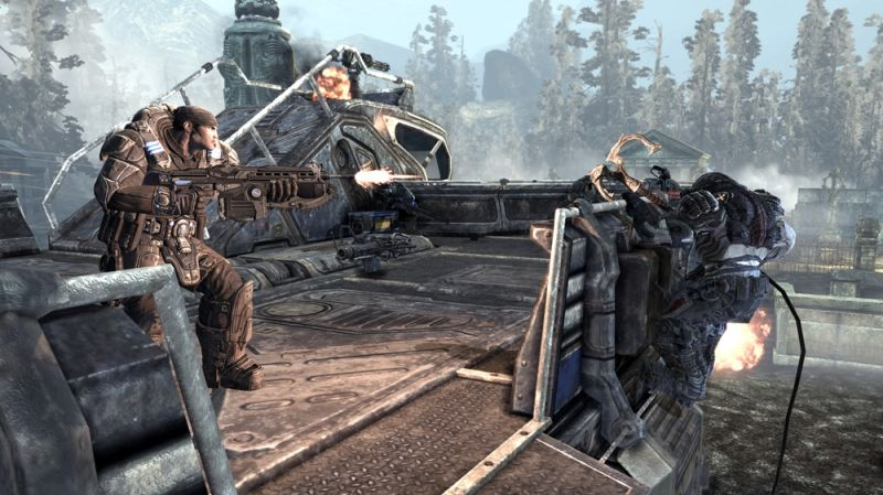 Gears of War 2 Screenshot Fighting on the back of a Rig