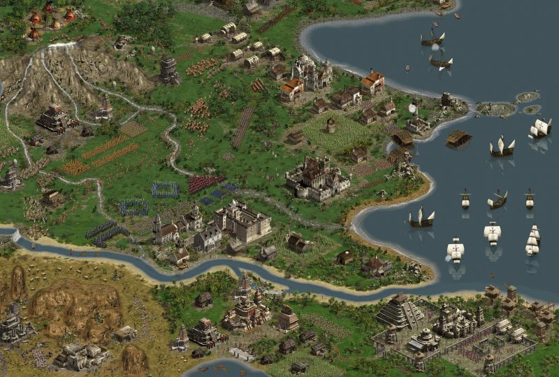 American Conquest Screenshot Inspect the whole vast combat zone of American Conquest on this megascreen!