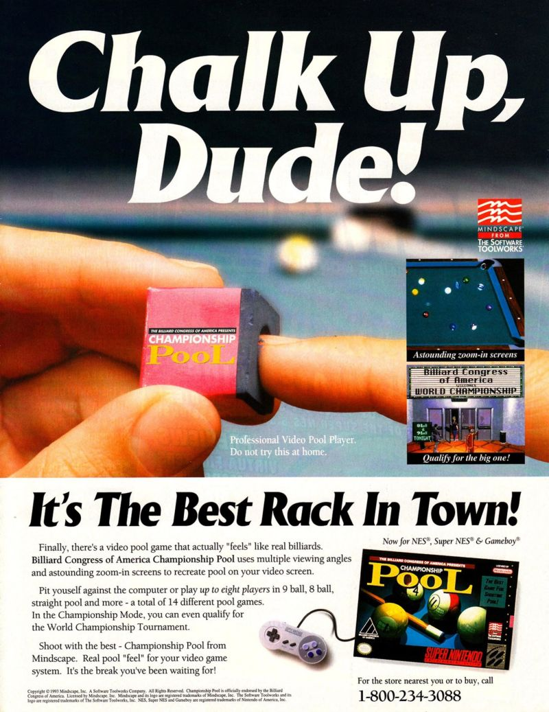 Championship Pool Magazine Advertisement Electronic Gaming Monthly (Sendai Publishing, United States), Issue 59 (June 1994)