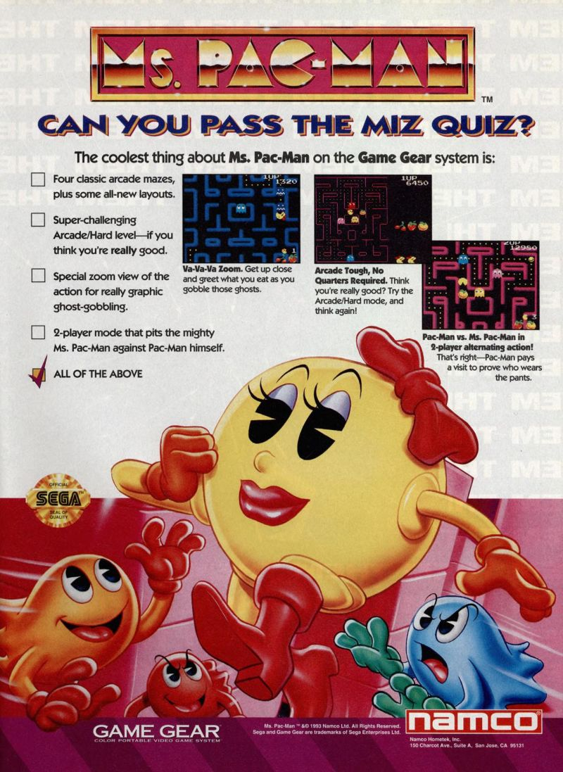 Ms. Pac-Man Magazine Advertisement GamePro (International Data Group, United States), Issue 58 (May 1994)