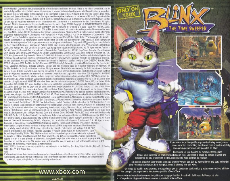 Blinx: The Time Sweeper Magazine Advertisement This shows the front & back panels of the foldout