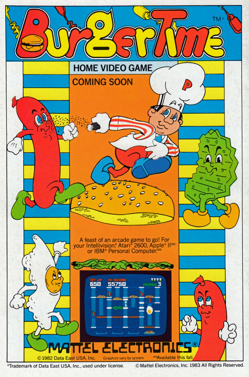 BurgerTime Magazine Advertisement Back cover