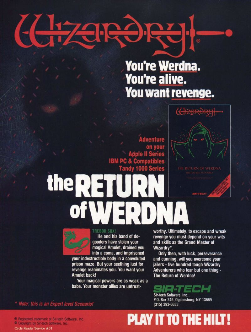 Wizardry: Proving Grounds of the Mad Overlord Magazine Advertisement