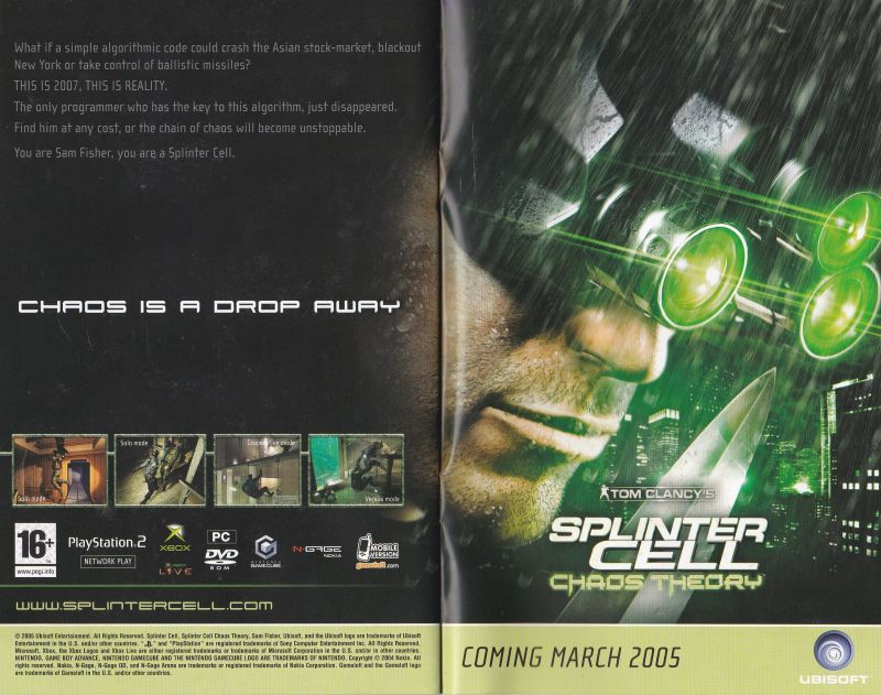 Tom Clancy's Splinter Cell: Chaos Theory Other Brothers in Arms: Road to Hill 30 (Europe) Limited Edition Pre-release pack: Johnny Rivas Diary