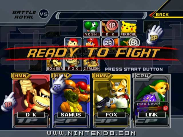 The title screen of Super Smash Bros Melee