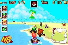 Mario Kart: Super Circuit Screenshot Using the Game Boy Advance Game Link Cable, four players can race against each other or fight it out in Battle Mode.