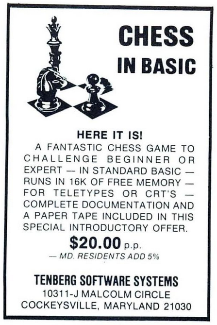 Chess in BASIC (1977) promotional art - MobyGames
