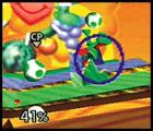 Super Smash Bros. Screenshot Toss one of Yoshi's eggs into the air and whoever it lands on will get shelled right out of the ring.
