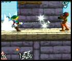Super Smash Bros. Screenshot Link's famous Hookshot latches on to opponents and brings them close so Link can toss them over the edge.