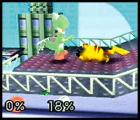 Super Smash Bros. Screenshot Pikachu's arms aren't very powerful, so head-butt his enemies with the A Button.