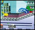 Super Smash Bros. Screenshot Pikachu's bolt of energy hops across the platform until it finds an opponent to shock.