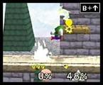 Super Smash Bros. Screenshot Luigi's Super Jump Punch works exactly like Mario's. It knocks the enemy both senseless and cent-less!