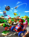 Mario Kart: Double Dash!! Render High resolution full page spread, depicting racing with mixed characters configurations.