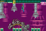 Metroid Fusion Screenshot Samus traversing ceiling as monster passes