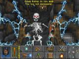 The Elder Scrolls: Chapter II - Daggerfall Screenshot And here's the skeleton in game. I was responsible for the first person weapons and spell attacks. The background textures here were some I worked on, and well as the UI graphics.  There were many MANY artists involved in Daggerfall. I think this screen is one of the rare instances where everything you see on screen I worked on.