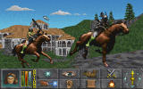 The Elder Scrolls: Chapter II - Daggerfall Screenshot It actually made it to the final CD and was on the back of the box until very late in the day. If you take a look at any of the old advertising for Daggerfall you'll find the shot. Oh well...Perhaps Morrowind will implement it. 	What could have been. Daggerfall was an exceptionally ambitious game. We all hoped and believed these horses would make the final cut. This is an early screen. The skies would later be replaced with some i created in Alias.