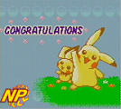 Pokémon Puzzle Challenge Screenshot Pikachu and Pichu are pleased with the performance.