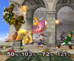 Super Smash Bros.: Melee Screenshot Check out Ness dodging Link's arrow! And, did Peach just throw Bowser through that stone column?