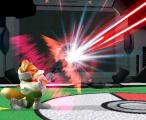 Super Smash Bros.: Melee Screenshot Fox blasts an opponent out of the sky in a Pokemon-themed arena.