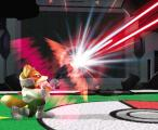 Super Smash Bros.: Melee Screenshot Fox uses his blaster to shoot upward. Unlike the N64 version, Fox's firearm doesn't cause the competition to flinch while they're being blasted.