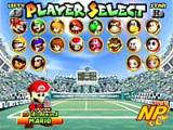 Mario Tennis Screenshot Mario Tennis for Nintendo 64 features 16 of Mushroom Kingdom's biggest stars, plus four custom characters accessible by importing them from the Game Boy Color version.