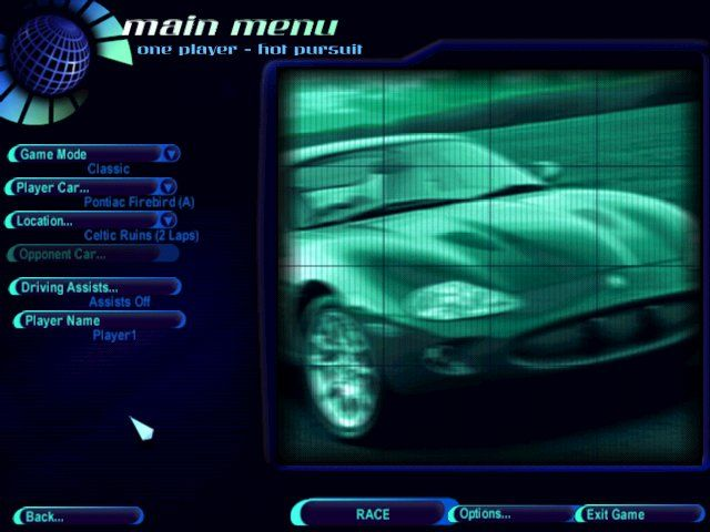 Need for Speed: High Stakes Windows Main menu.