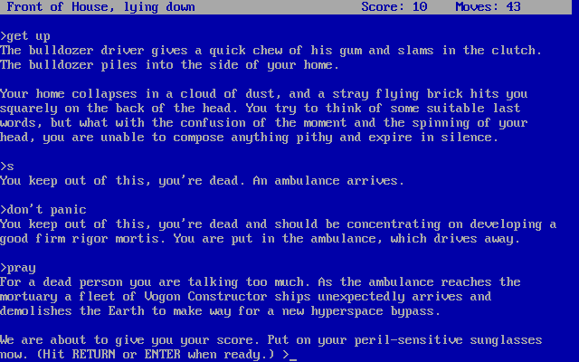 The Hitchhiker's Guide to the Galaxy Screenshots for DOS - MobyGames