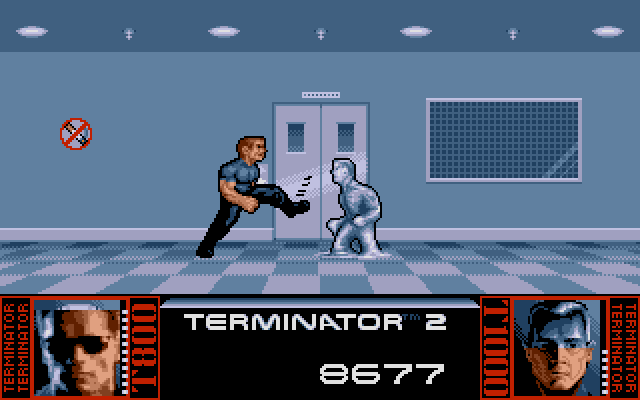 Terminator 2: Judgment Day DOS Level 4 - Fight with T1000 in the hospital
