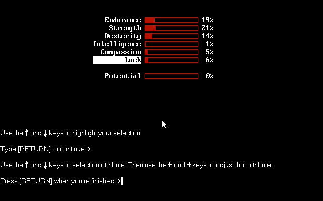 The Zork Anthology Windows Beyond Zork: Balancing character's initial stats