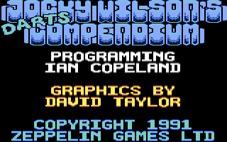 Jocky Wilson's Compendium of Darts Commodore 64 Title screen
