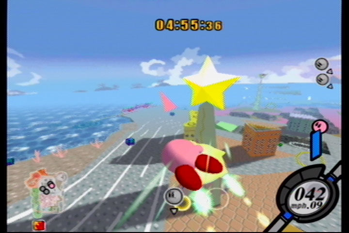 Kirby Air Ride GameCube In City Trial rival Kirbys scour the city