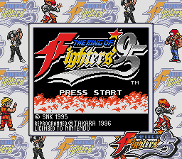 The King of Fighters '95 Game Boy Title screen (in Super Game Boy).