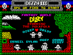 Fantasy World Dizzy ZX Spectrum Title screen