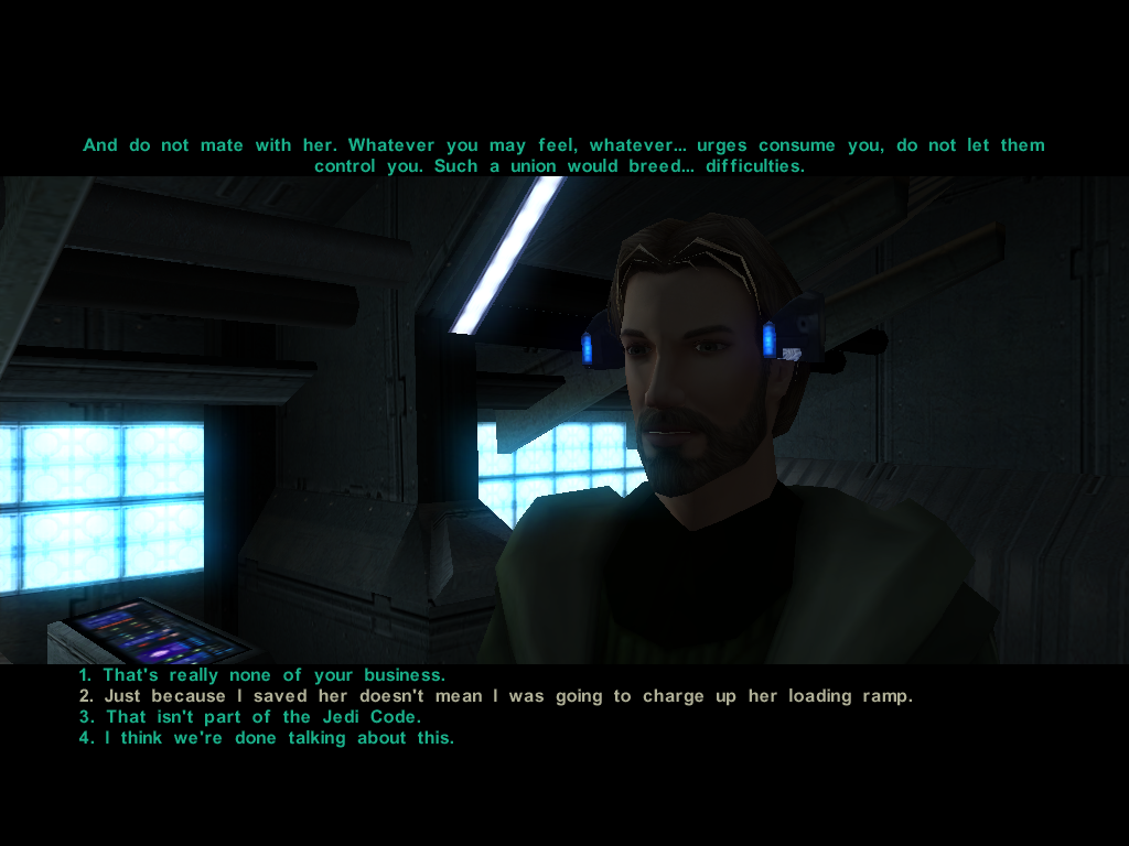 Star Wars: Knights of the Old Republic II - The Sith Lords Windows A conversation with Kreia about the Handmaiden... The programmers have a sense of humor in this game