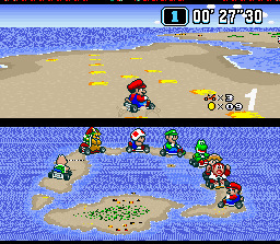 Super Mario Kart SNES Mario makes a tight turn.