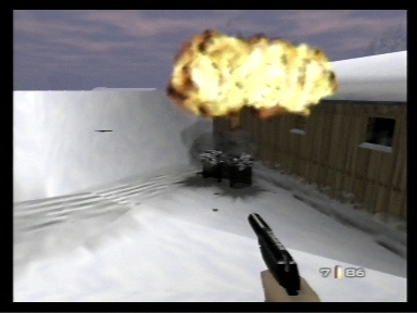 GoldenEye 007 Nintendo 64 A barrel explodes