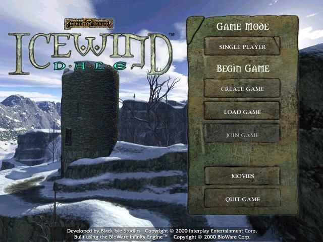 Icewind Dale Windows Main Menu