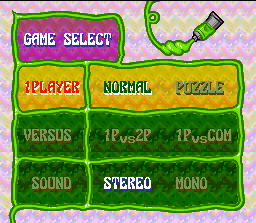 Tetris 2 SNES Choose your game mode, change sound settings and be the puzzle master now!