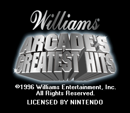 Williams Arcade Classics SNES Title screen.