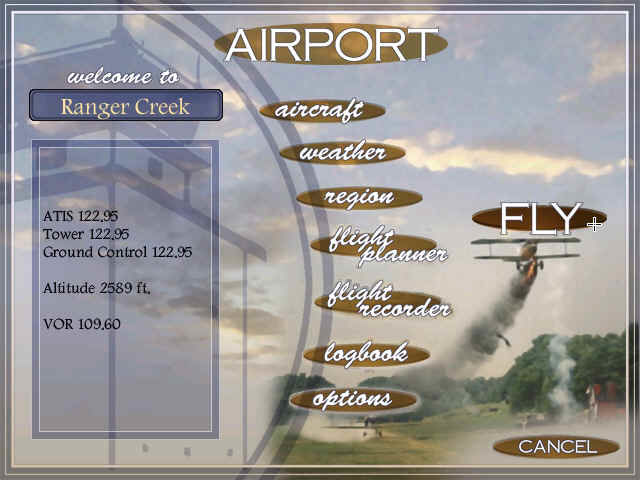 Flight Unlimited III Windows Airport... Select your aircraft, generate the weather or access your logbook!