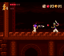 Disney's Aladdin SNES The apple is stronger than the sword!