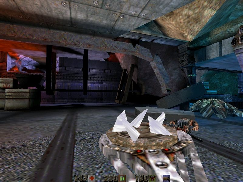 Juggernaut: The New Story For Quake II Windows The first map - with a fully-packed, strangely re-modeled Hyperblaster in hand.