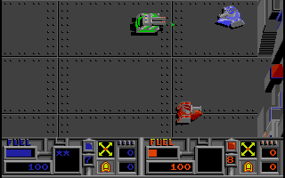 Vindicators Amiga A tank attacks in a two player game