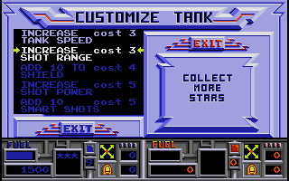 Vindicators Amiga Customize your tank