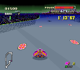 "F-Zero SNES The most ""dangerous"" point in Mute City III is this mine field. Look out or else your car will be damaged!"