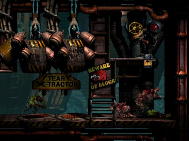 Oddworld: Abe's Exoddus Windows Controlling the mind of this guard I command the doggies to attack his colleague.