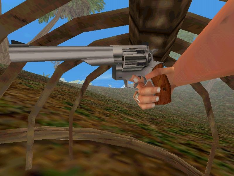 Trespasser: The Lost World - Jurassic Park Windows The hand is so versatile, you can point the gun to yourself.